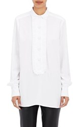 Harvey Faircloth Women's Ruffle Trimmed Poplin Tunic White