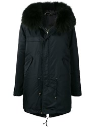 Mr And Mrs Italy Fur Trim Hooded Parka Black