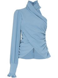 Beaufille Miro One Sleeve High Neck Blouse Blue
