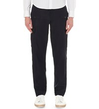Dries Van Noten Pavo Linen And Cotton Blend Cargo Trousers Nav
