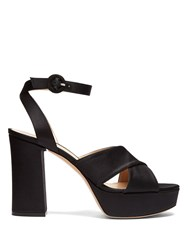 Gianvito Rossi Block Heel Platform Satin Sandals Black