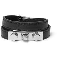 Saint Laurent Leather Silver Tone Wrap Bracelet Black