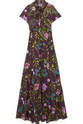 Lela Rose Woman Pussy Bow Floral Print Cotton Voile Gown Plum