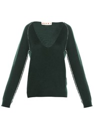 Marni Contrasting Stitch V Neck Sweater Green