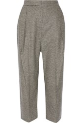 Brunello Cucinelli Cropped Stretch Wool And Cashmere Blend Wide Leg Pants Black
