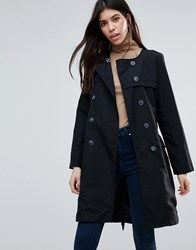 Brave Soul Belted Trench Coat Black