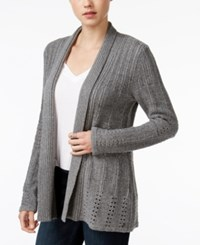 Roxy Juniors' Old Pine Open Knit Cardigan Heather Charcoal