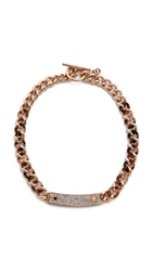 Michael Kors Pave Plaque Curb Chain Toggle Necklace Rose Gold
