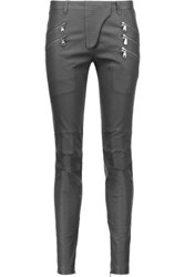 Balmain Pierre Leather Skinny Pants Anthracite