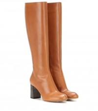 Chloe Leather Knee High Boots Brown