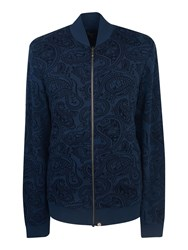 Pretty Green Men's Naseby Paisley Zip Sweater Navy