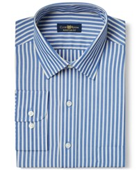 Club Room Big And Tall Wrinkle Resistant Navy Citron Stripe Dress Shirt Only At Macy's
