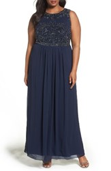 Adrianna Papell Plus Size Women's Beaded Chiffon A Line Gown