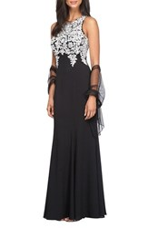 Alex Evenings Women's Embroidered A Line Gown With Chiffon Shawl