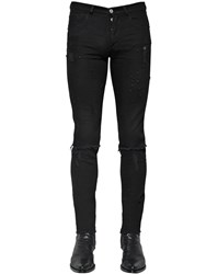 Givenchy Destroyed Slim Fit Cotton Denim Jeans Black