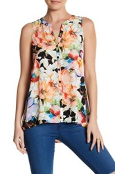 Spense Split Neck Hi Lo Sleeveless Blouse Multi