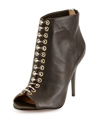 L.A.M.B. Tony Leather Peep Toe Bootie Olive