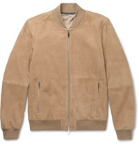 Hugo Boss Alfondo Suede Bomber Jacket Tan