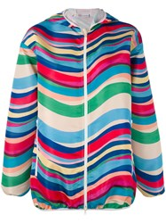 Red Valentino Striped Hooded Jacket Women Polyester Acetate 38 Red