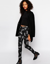 Monki Cat Print Trousers Black