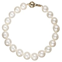 A B Davis Freshwater Lustre Pearl Knotted 7.5 Bracelet With Gold Clasp