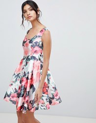 Forever Unique Floral Mini Prom Dress Multi