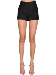 Dsquared High Waist Wool And Silk Shorts Black