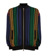 Balmain Stripe Knit Bomber Cardigan Male Multi