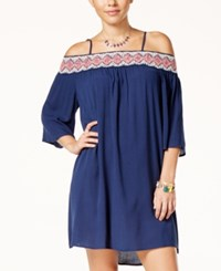 Trixxi Juniors' Crochet Trim Off The Shoulder Shift Dress Navy