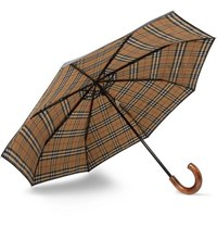 Burberry Maple Wood Handle Telescopic Umbrella Black