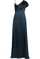 Cushnie Et Ochs Zahara Draped Silk Charmeuse Gown Midnight Blue