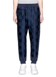 Alexander Mcqueen Skull Crest Fil Coupe Organic Cotton Sweatpants Blue