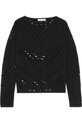 Milly Cutout Stretch Knit Sweater Black