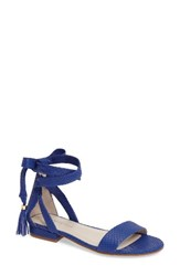 Kenneth Cole Women's New York Valen Tassel Lace Up Sandal Electric Blue Leather