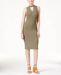 Fire Juniors' Cutout Bodycon Dress Olive