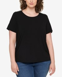 Tommy Hilfiger Plus Size Faux Leather Trim T Shirt Black