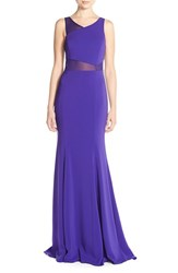 Women's Jay Godfrey Asymmetrical Illusion Mesh And Crepe Gown