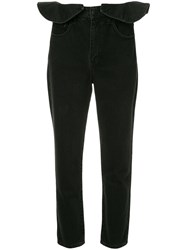 Nobody Denim Ruffle Straight Leg Jeans Black