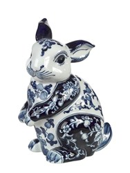 Pols Potten Rabbit Shaped Porcelain Money Bank Blue White