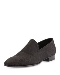 Brocade Slip On Loafer Black Stefano Ricci