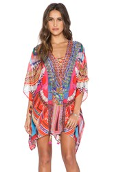 Camilla Short Lace Up Kaftan Orange