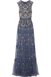 Needle And Thread Floweret Embellished Tiered Tulle Gown Storm Blue