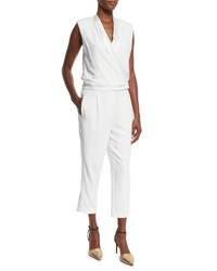 Brunello Cucinelli Shawl Collar Sleeveless Crepe Jumpsuit White Black
