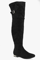 Boohoo Buckle Trim Flat Over The Knee Boot Black