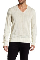 John Varvatos V Neck Long Sleeve Sweater Beige