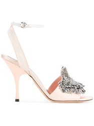Rochas Mid Heel Satin Open Toe Pumps With Crystal Embellishment Women Leather Silk Satin 36.5 Pink Purple