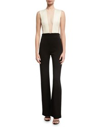 Galvan Plunging Illusion Tulle Jumpsuit Black White Black White