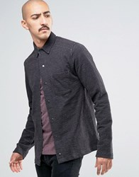 Only And Sons Heavy Jersey Shirt With Press Stud Front Black