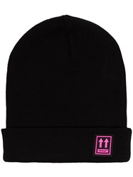 Off White Logo Patch Beanie Hat Black