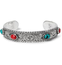 Gucci Tiger Head Sterling Silver Turquoise Cuff